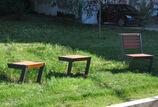 Hockerbank mit Holzauflage Henne Hocker