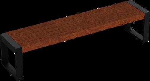 Hockerbank mit Holzauflage Cubo