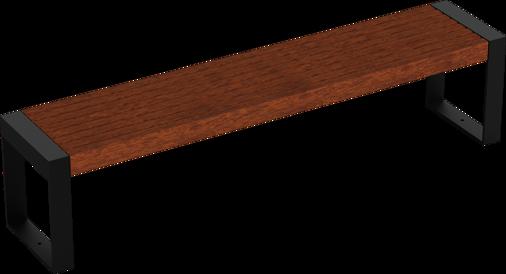 Hockerbank mit Holzauflage Scape III